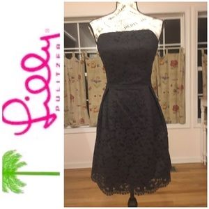 Lilly Pulitzer Navy Lace Dress Dry Cleaned Size 10